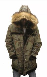 Lifestyle Men's Faux Sherling Nubuc Parka Jacket Size L