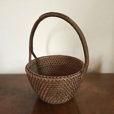 Antique Papago Grass Basket with Handle Hand Woven Native American Indian