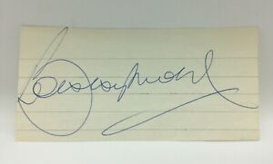 RARE Bobby Moore Signed Cut Page Card + COA AUTOGRAPH WEST HAM ENGLAND 1966