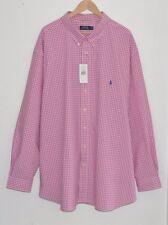 Ralph Lauren Polo Camisa De Cuadros Blanco Rosa Comprobado a Cuadros 5XL 5XB 5X Big XXXXXL