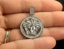 New Medusa Head MICRO Pendant 14k White Gold gp Simulate Diamond Pave Mini Charm