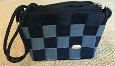 "CREAZIONI Alma Italy Blue Woven Tote Bag Purse - Navy/Lt Blue 8"" x 10"""