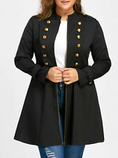 US STOCK Victorian Womens Steampunk Metal Button Gothic Trench Coat Jacket Tops