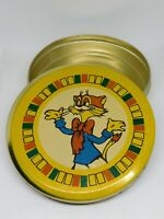 Vintage Soviet Empty Candy Tin Box - Cat LEOPOLD, USSR, 1970s