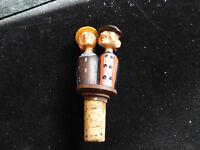 Vintage Anri Wood Carved Mechancial Kissing Couple Wine Bottle Cork Stopper