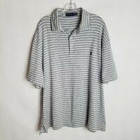 Polo Ralph Lauren Mens Grey Striped Short Sleeve Polo Shirt Sz 2XB 2XL Big M210