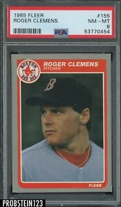 1985 Fleer #155 Roger Clemens Boston Red Sox RC Rookie PSA 8 NM-MT