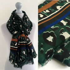 Large Leopard Print Scarf Green with Tan Blue Striped Animal Big Long Cotton