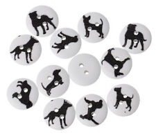 Lot of 10 DOGS 2-hole White Wood Buttons 5/8