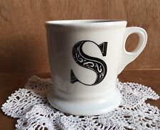 Anthropologie 14oz White Coffee Mug Cup Black Letter S Initial Monogram