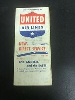 United Airlines New Direct Service September 1947  Pocket Timetable