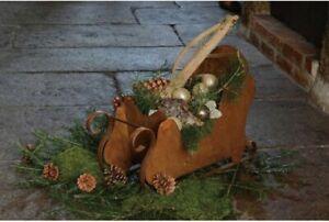 Schlitten Dekoschlitten Weihnachtsdeko Edelrost LxBxH 58x20x38cm NEU