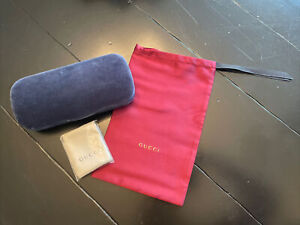 NEW GUCCI CASE BLUE VELVET CLAMSHELL EYEGLASSES WITH DUST BAG AND CLOTH