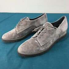 Used Stuart Weitzman Taupe Suede Leather Womens Oxfords Dress Shoes sz US 7