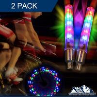 2 PS LED Flashing Light Bicycle Bike Tyre Tire Wheel Valve Spoke Cap Bright Lamp