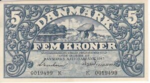 NICE BANKNOTE FROM DENMARK 5 KRONER YEAR 1943 UNCIRCULATED