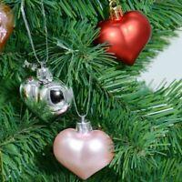 12Pc Heart Shaped Christmas Ball Ornaments Xmas Tree Decor Hanging Pendant HOT