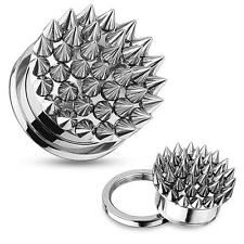 Earrings Ear plugs Multi Spikes Screw Fit Stainless Steel Tunnel 1/2''