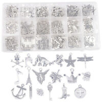 200PCS/Box Assorted Antiqued Silver Metal Charms for Jewelry Making 18 Styles