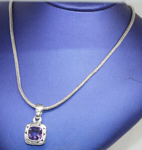 GORGEOUS STERLING JOHN HARDY PENDANT WITH AMETHYST AND CHAIN #R15