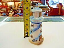 Vintage Blue Lighthouse Tealight Candle Holder Porcelain | Nautical Beach Décor