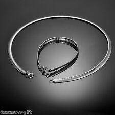 1Set Women Fashion Stainless Steel Silver Tone Snake Chain Necklace Jewelry