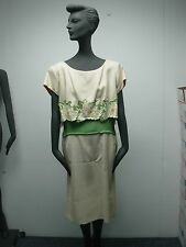 1950s FERMAN O'GRADY IVORY DRESS w EMBROIDERED WHITE FLOWERS GREEN AT WAIST