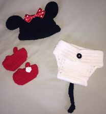 HAND MADE GIRL MOUSE INFANT OUTFIT PHOTO PROP WHITE RED BLACK BOW