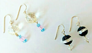 Two pairs of Victorian Crystal Cut Glass / Art Glass 925 Silver Drop Earrings