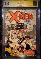 MARVEL X-MEN #6 CGC SS 5.0 SIGNED BY STAN LEE *KEY ISSUE SUB-MARINER APPEARANCE
