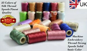 25 Large Art Silk Rayon Embroidery Machine Thread Strong Spools Solid Color