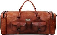 """30"""" Men's Lightweight Leather Suitcase 2 Pocket Travel Luggage Duffle Gym Bags"""