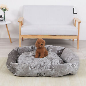 Large Snooze Crushed Velvet Dog Bed Soft Washable Fleece Cushion Warm Luxury Pet