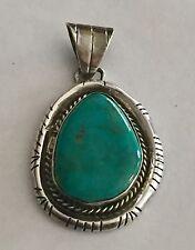 Vintage Green Turquoise Sterling Silver Pendant  Signed JP