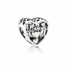 NEW Authentic Pandora Bead Openwork Charm I Love You Mom Enamel 792067EN23