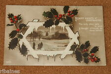Vintage Postcard: Memory Awakes at Christmastide Greetings, Holly and Berries