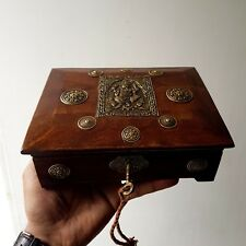 Handmade Beautiful Brass Design TEAK WOOD Trinket/Gift/Jewelry/Box/case/Storage