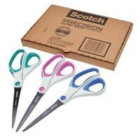 Scotch Precision Ultra Edge Titanium Scissors, 8 Inch, 3-Pack