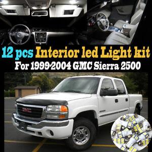 12Pc Super White Interior LED Light Bulb Kit Pack for 1999-2004 GMC Sierra 2500