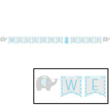"""Elephant Boy Blue """"Welcome Baby"""" Banner Baby Shower Ribbon Decoration"""