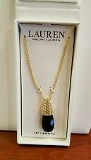 BEAUTIFUL RALPH LAUREN GOLD TONE BOXED NECKLACE W/BLACK CRYSTAL 3566
