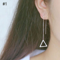 PAIR OF SILVER PLATED LONG DROP LINE TRIANGLE CHAIN EARRINGS UK SELLER