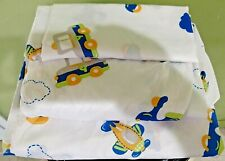 PIPER KIDS Twin Sheet Set White with Blue Airplanes Cars and Clouds 3-Piece Set