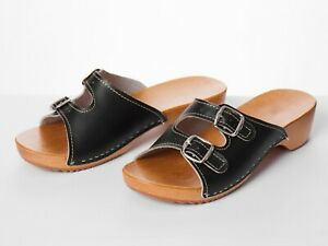 Women Sandals Natural Leather Slip On Wood Clogs Size 3-8 Beach Shoe Slider Mule
