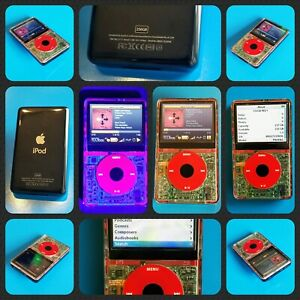 Fluorescent Red 256GB Upgraded 5th Gen Transparent iPod Classic Video 5.5 PA444L