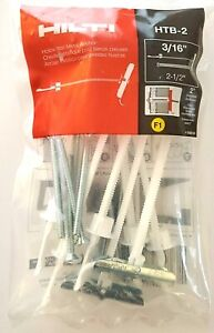 """( 8 ) NEW HILTI 3/16""""x2 1/2"""" Hollow & Drywall HTB-2 Steel Anchor/Toggle Bolts!"""
