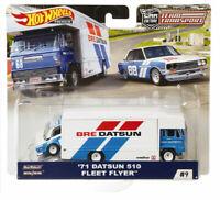 71 Datsun 510 Fleet Flyer, Rally Car Transporter Scale 1:64 by Hotwheels