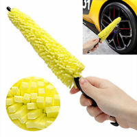 Car Wheel Brush Plastic Handle Yellow Sponge Tire Rim Cleaner Tool Accessories