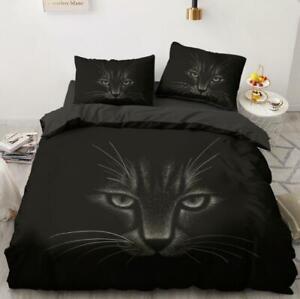 3D Black Ferocious Cat ZHUB80 Bed Pillowcases Quilt Duvet Cover Queen King Zoe