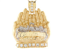 Cz 6.5cm Last Supper Hands Religious Pendant 10k or 14k Two 